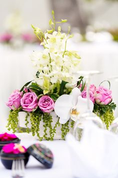 One of my favourite wedding floral arrangements. Perfect for a garden reception Beautiful Islands, Unique Weddings, Floral Wedding, Floral Arrangements, Florals, Reception, Table Decorations, Garden, Inspiration