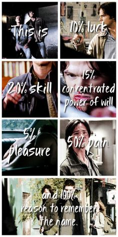 """[gifset]""""What, you really haven't heard of us? What kind of angel are you, we're— we're the freaking Winchesters."""" The Great Escapist credit: Remember the name by Fort Minor Sam E Dean Winchester, Winchester Brothers, Sam Dean, Castiel, Photomontage, Impala 67, Fort Minor, Supernatural Quotes, Supernatural Drawings"""