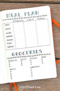 Never know what to cook? Meal planning is a grind but it doesn't have to be. Che… Never know what to cook? Meal planning is a grind but it doesn't have to be. Check out all of these easy Meal Plan Spread Ideas for Your Bullet Journal + FREE PDF Printable! Bullet Journal Meal Plan, Bullet Journal Tracker, Bullet Journal Notebook, Bullet Journal Inspiration, Bullet Journals, Bullet Journal Layout Ideas, Bullet Journal Project Planning, Bullet Journal Ideas Templates, Bullet Journal Workout