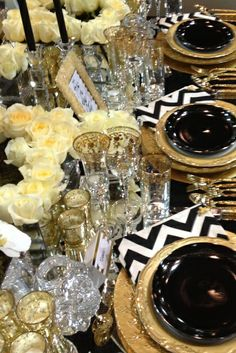 Black, white  gold dinner table