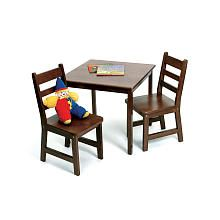 Lipper International Child's Square Table and 2 Chairs Set - Walnut