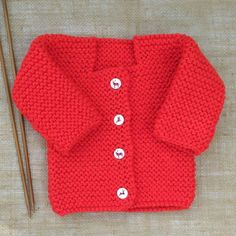 Hand Knitted Baby Jacket Cardigan Tomato by HandKnittedYorkshire