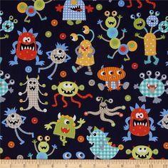 Monster Mash in Navy (Michael Miller House Designer - Monster Mash) Miller House, Tissu Michael Miller, Michael Miller Fabric, Navy Fabric, Cotton Fabric, Baby Boys, Toddler Bed Sheets, Cotton Bedding Sets, Monster Mash