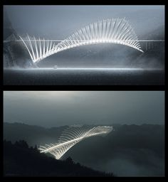 Flying Fish Bridge | Fish dorsal fin structure, over 1000 meter long Bridge concept project. Xray / facade view by Sako Tchilingirian