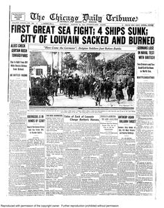Aug. 29, 1914: First great sea battle. 4 ships are sunk.