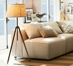 Piedmont Floor Lamp Base / Pottery Barn (also ivory neutral sofa) My Living Room, Living Room Decor, Barn Living, Floor Lamp Base, Floor Lamps, Lamp Bases, Inspired Homes, Home Lighting, Decoration