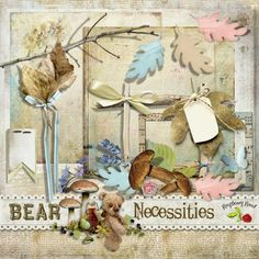 A free mini kit designed to coordinate with the Bear Necessities scrapbook collection from Raspberry Road.