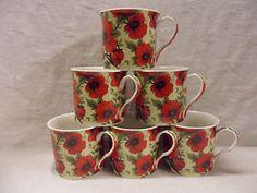 Set of 6 red poppy china palace mugs