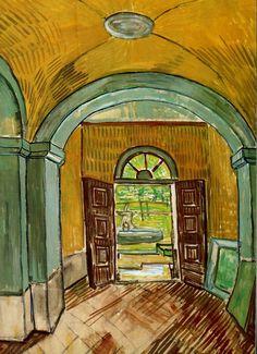 Vincent van Gogh: The Watercolours - The Entrance Hall of Saint-Paul Hospital. Saint-Remy: October (or May) Van Gogh Museum, Amsterdam. Vincent Van Gogh, Rembrandt, Claude Monet, Henri De Toulouse-lautrec, Van Gogh Arte, Van Gogh Pinturas, Georges Seurat, Van Gogh Paintings, Paintings Famous