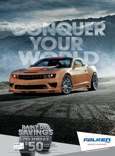 Falken Tire Camaro Performers Magazine Ad Conquer Your World