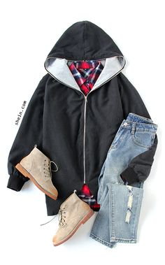 Casual winter style-Black Hooded Long Sleeve Pockets Loose Coat Outfit
