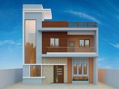 Arhum Villa on Behance Duplex House Design, Duplex House Plans, House Front Design, Modern House Design, Front Elevation Designs, House Elevation, Building Elevation, Exterior House Colors Combinations, Exterior Colors