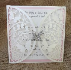 Flutterby  Laser cut butterfly wedding by CardiffInvitations