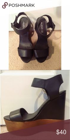 Aldo wedges, perfect condition! Black leather sandal wedges from Aldo, only worn once! Brown platform base makes them more versatile and easier to walk in. Aldo Shoes Wedges