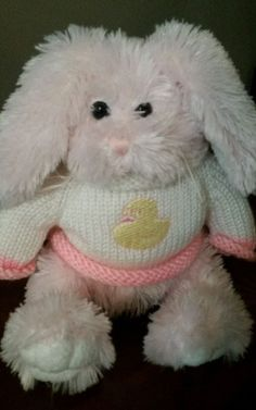 2006 Pink Plush Bunny Rabbit White Duck Sweater Stuffed Animal Toy Easter Bunny
