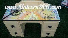 Antique Vanity Base in homemade chalk paint Top done with Unicorn SPiT Funky Painted Furniture, Repurposed Furniture, Distressed Furniture, Furniture Makeover, Diy Furniture, Dresser Makeovers, Refinished Furniture, Furniture Design, Unicorn Spit Stain