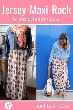 Jersey-Maxi-Rock Sewing maxi skirt from jersey itself – Free sewing instructions for a great long skirt Freebook ✂️ Sewing talents – The magazine for hobby cutters with pattern database ✂️ Sew Maxi Skirts, Jersey Maxi Skirts, Girls Knitted Dress, Knit Baby Dress, Poncho Style, Baby Sewing Tutorials, Pola Rok, Crochet Skirt Pattern, Crochet Patterns
