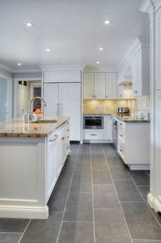 43 Inspiring White Kitchen Cabinets With Dark Floors Design Ideas | Modern Kitchen Flooring, Grey Kitchen Floor, Kitchen Flooring