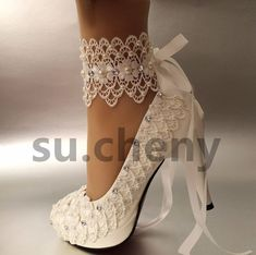 "3"" 4 "" heel white ivory lace ribbon ankle pearls Wedding shoes bride size 5-11 #PumpsClassicsplatform"