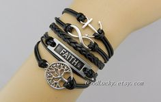 Hipsters jewelryblack leather braceletwish by goodlucky on Etsy, $11.69