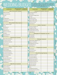Wedding Budget Checklist and more!   MUST LOOK AT
