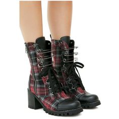 Current Mood Judy Plaid Combat Boots ($88) ❤ liked on Polyvore featuring shoes, boots, tartan boots, military boots, punk combat boots, combat boots and punk rock boots