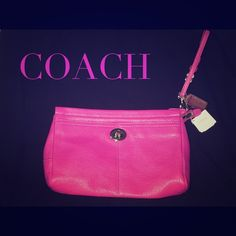 Fuchsia Pebbled Leather Clutch Brand New Clutch! Gorgeous Fuschia/Hot Pink Pebbled Leather Clutch. Coach Bags Clutches & Wristlets