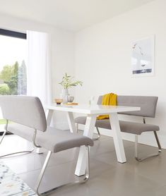 Social dining doesn't come more relaxed than this. Choose dining benches over dining chairs for a comfy and chic dining setting. Dining Set, Dining Bench, Dining Chairs, Sofa Chair, Upholstered Chairs, White Gloss Dining Table, Bench Set, Table And Chair Sets, Chair Fabric