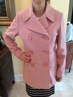 IZZI Collections Blush/Dusty Pink Wool Peacoat Size Small #IZZI #Peacoat #Casual