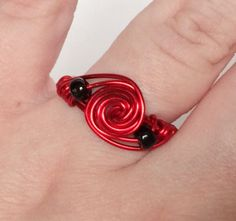 Red ring by OnTheWireByMaryJane on Etsy, $10.00