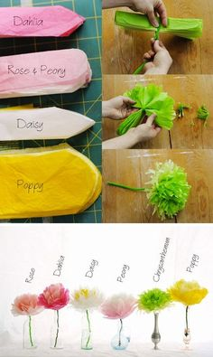 How to Make Tissue Paper Flowers. Tissue paper flowers make great decorations and party décor.Inspirational Monday – Do it yourself (diy) Flower series – Tissue Paper Flowers Pretty and simple decorations for a spring party. Or make extra large Kids Crafts, Diy And Crafts, Arts And Crafts, Easy Crafts, Paper Flowers Diy, Flower Crafts, Craft Flowers, Handmade Flowers, How To Make Flowers Out Of Paper