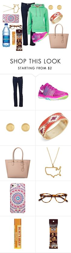 """Untitled #1308"" by pinkerie ❤ liked on Polyvore featuring Levi's, NIKE, T+C by Theodora & Callum, Kate Spade, Maya Brenner Designs, Vera Bradley, EyeBuyDirect.com and Hershey's"