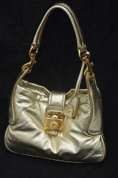 fe3f9576f6cd Miu Miu Gold Soft Leather Small Shoulder Bag