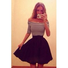 Sexy Bateau Neck Off The Shoulder Half Sleeves Striped Patchwork Black Polyester Mini Dress
