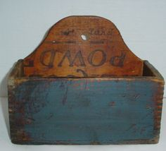 Antique Wooden Candle Wall Box Hercules Dynamite Powder Crate Old Blue Paint Wall Cupboards, Cabinets, Antique Wooden Boxes, Prim Decor, Candle Box, Wall Boxes, Blanket Chest, Country Primitive, Hercules