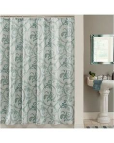 Infuse your bathroom décor with an elegant, contemporary feel. Boasting a beautiful scroll design, the Savona Fabric Shower Curtain features a mini tile print background for added depth and dimension. This curtain is machine washable for easy care.