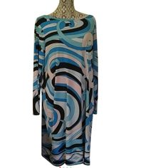 🎉NWT🎉Michael Kors Plus Size Summer Blue Dress Looks like Pucci!!! Priced but its Michael Korrs!!!!!  Long sleeved Michael Korrs Summer Blue long sleeve. Luxurious. Gorgeous swirly pattern, back covered zip, fully lined🎉🎊 MICHAEL Michael Kors Dresses Midi