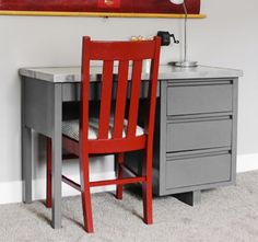 Learn how to turn an old desk and chair into the perfect addition to any study space with a few coats of paint. Project and images by Melissa from 320 Sycamore.