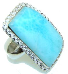 $69.15 Sky Delight! Light Blue Larimar Sterling Silver Ring s. 8 at www.SilverRushStyle.com #ring #handmade #jewelry #silver #larimar