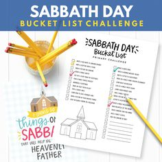 Sabbath Day Bucket List - SO MANY great ideas! (Primary Sharing Time Ideas August 2017 - I Should Do Things on the Sabbath that will Help Me Stay Close to Heavenly Father)