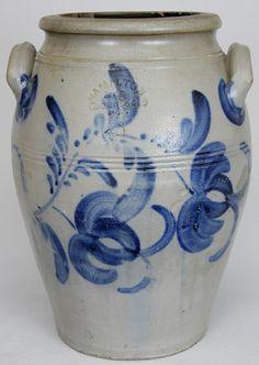 """Four gallon stoneware crock stamped """"HAMILTON & CO., Greensboro, PA,"""" circa 1850, H 14 3/4"""""""