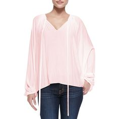 Ramy Brook Paris V-Neck Peasant Blouse ($325) ❤ liked on Polyvore featuring tops, blouses, blush, women's apparel tops, ramy brook tops, tie blouse, bishop sleeve blouse, pink blouse and v-neck tops