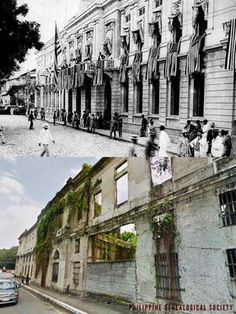 Dito, Noon: Ayuntamiento, Manila, 1920s x 2019. #kasaysayan -- The Ayuntamiento de Manila, was first built in 1599 and was razed by fire. The second structure was levelled by an earthquake. The third structure was destroyed in the Battle of Manila in 1945. Manila, Intramuros, Yellow Brick Road, Present Day, World War Ii, 1920s, Philippines, Skyscraper, Cathedral