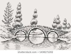Illustration about Stone bridge over river hand drawn landscape. Illustration of park, building, design - 151890561 Pencil Sketches Landscape, Landscape Drawings, Doodle Art Drawing, Pencil Art Drawings, Cross Contour Line Drawing, Bridge Drawing, Ink Pen Art, Architecture Sketchbook, Nature Sketch