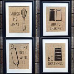 Choose Four Funny Kitchen Burlap Print Wall Decor | Kitchen Print | Rustic Home Decor | Housewarming Gift | Burlap Kitchen Print by MilsoMade on Etsy https://www.etsy.com/listing/217614149/choose-four-funny-kitchen-burlap-print