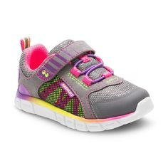 Toddler Girls' Surprize by Stride Rite Charity Washable Sneakers - Grey Rainbow 8, Toddler Girl's, Gray Pink