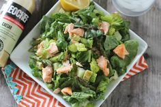 #paleomg #paleo Broiled Salmon and Asparagus Caesar Salad