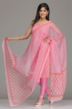 Pink Unstitched Kota Kurta  Dupatta Set With Dark Pink And Orange Hand-Block Printed Floral Motifs