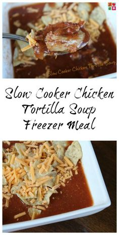 Slow Cooker Chicken Tortilla Soup Recipe on Having Fun Saving and Cooking.   This Chicken Tortilla Soup recipe is made in the slow cooker and can be made today or it can be one that you prep ahead of time and toss in the freezer.