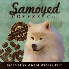 Samoyed Coffee Co.  12X12 Modern Vintage Giclee by LegacyHouseArt, $38.95
